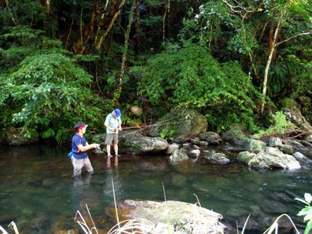 渓流釣りを楽しむ、明石氏と浜野氏